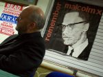 George Galloway shadowed by Malcolm X