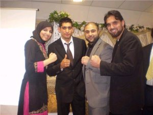 Salma Yaqoob and fellow Respect councillors with boxer Amir Khan