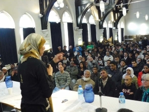 Salma Yaqoob addresses the crowds at the Gaza meeting in Birmingham