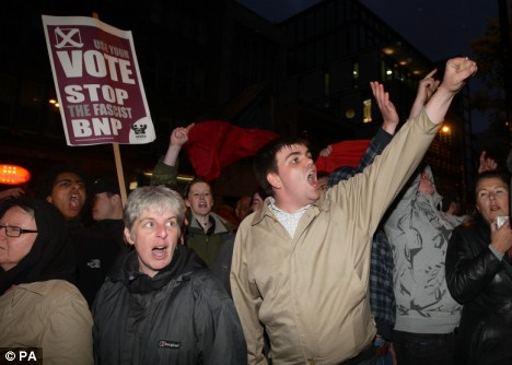 UAF and other anti-BNP protesters in Manchester last night
