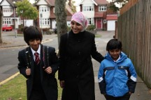 Salma Yaqoob and her kids - Birmingham Friends of the Earth