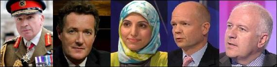 BBC Question Time panel - 10th December 2009 - Salma Yaqoob, Piers Morgan, William Hague