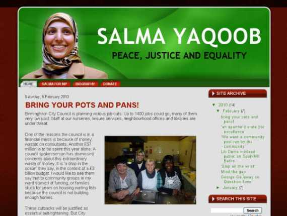 Salma Yaqoob Official Blog Website