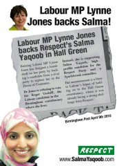 Lynne Jones MP endorses Salma Yaqoob for MP