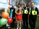 Salma Yaqoob with Larches Park Residents Group chair Asghar Ali and local PCSOs Natasha Bruckshaw and Meryl Crawford