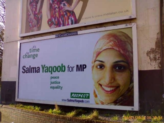 The 'Salma Yaqoob for MP' election billboard poster is launched